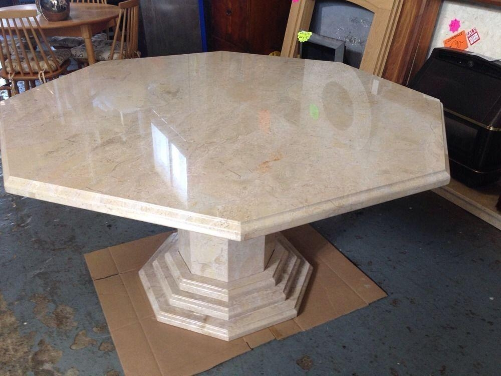 Cream Solid Marble Octagonal Dining Table 140Cm Diameter Stunning Throughout Solid Marble Dining Tables (View 8 of 20)