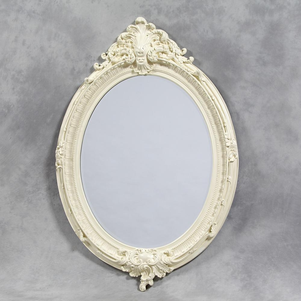 Cream/antique White Oval Mirror | En Vogue Homes For Oval Cream Mirror (Image 5 of 20)