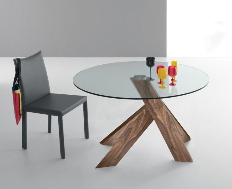 Create Modern Dining Room With Glass Dining Table Throughout Contemporary Base Dining Tables (Image 8 of 20)
