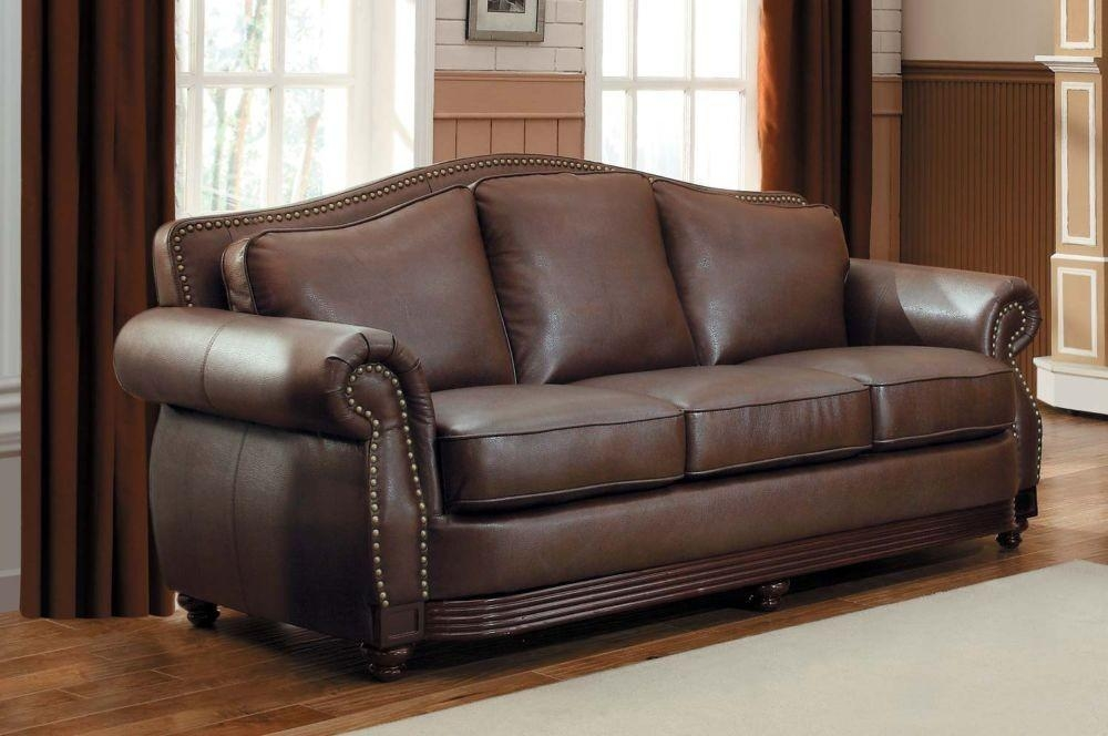 Creative Of Nailhead Leather Sofa Traditional Top Grain Leather In Brown Leather Sofas With Nailhead Trim (Image 7 of 20)
