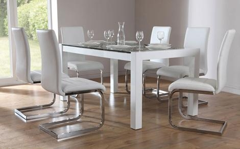 Creative Of White Glass Dining Table Amsterdam White Glass And With Regard To White Dining Tables And 6 Chairs (Image 5 of 20)