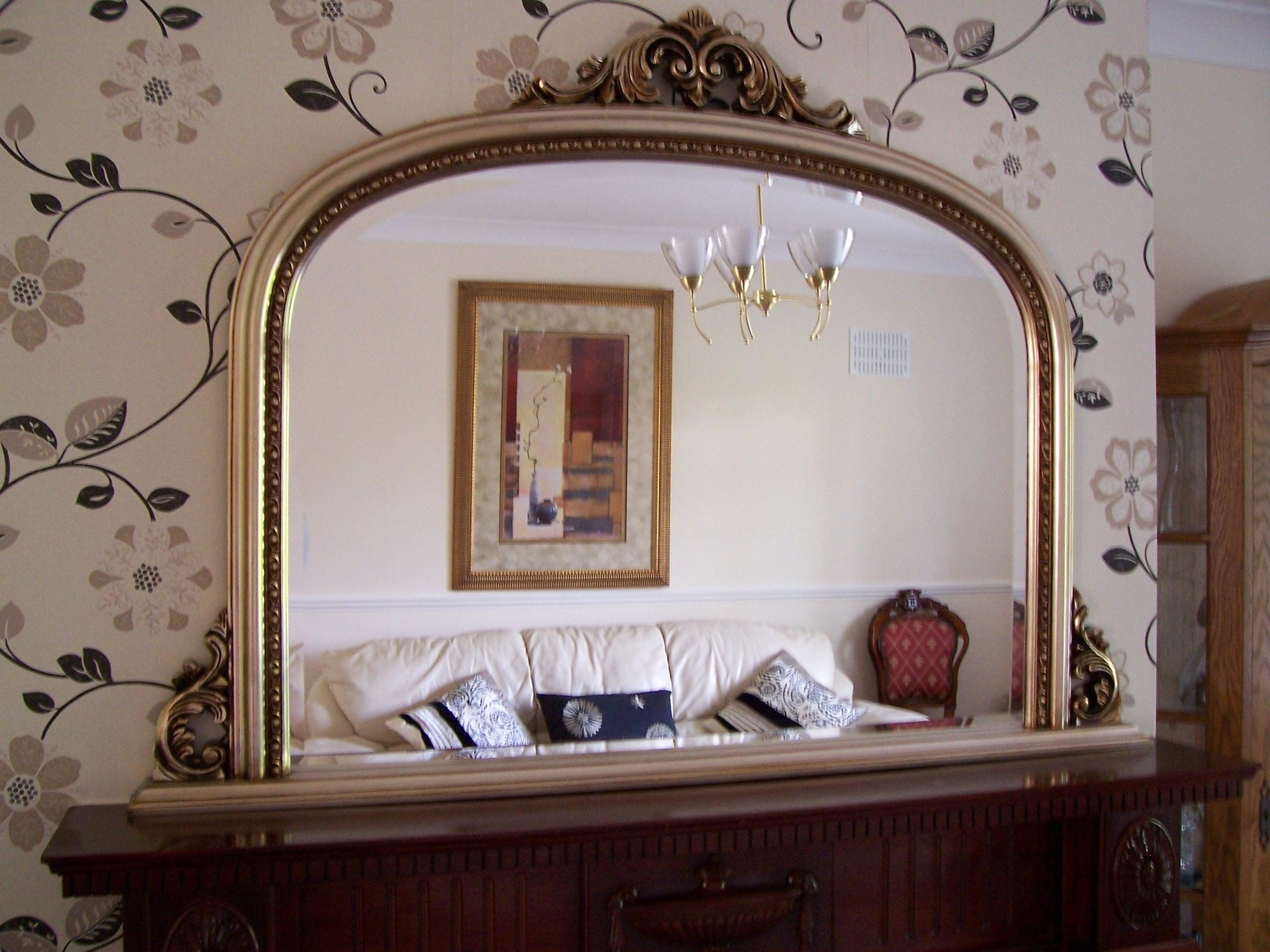 Crinken Glass With Mantle Mirror (Image 13 of 20)