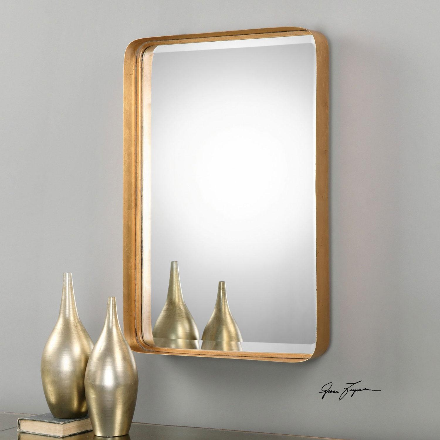 Crofton Antique Gold Mirror Uttermost Wall Mirror Mirrors Home Decor With Regard To Gold Antique Mirror (Image 9 of 20)