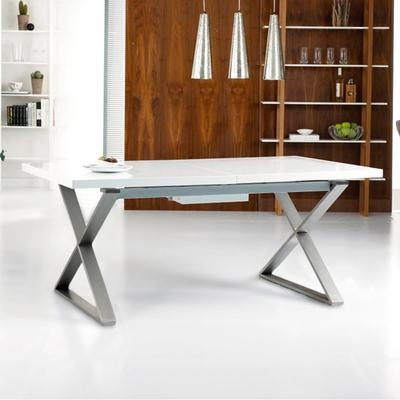 Crossed Leg Gloss Extending Dining Table White – Dwell Within White Extendable Dining Tables (Image 3 of 20)