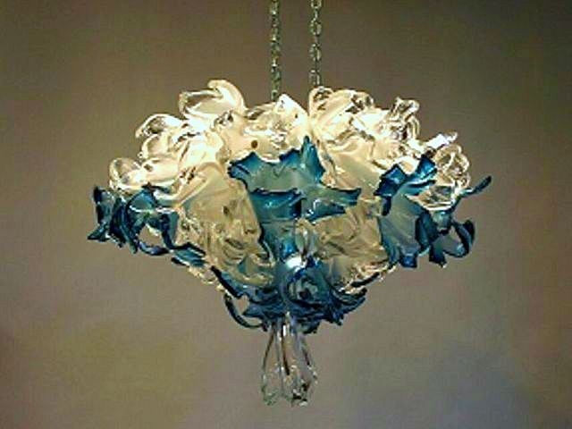Crystal Blue Blown Glass Chandelier Artisan Crafted Lighting Pertaining To Turquoise Blown Glass Chandeliers (View 19 of 25)