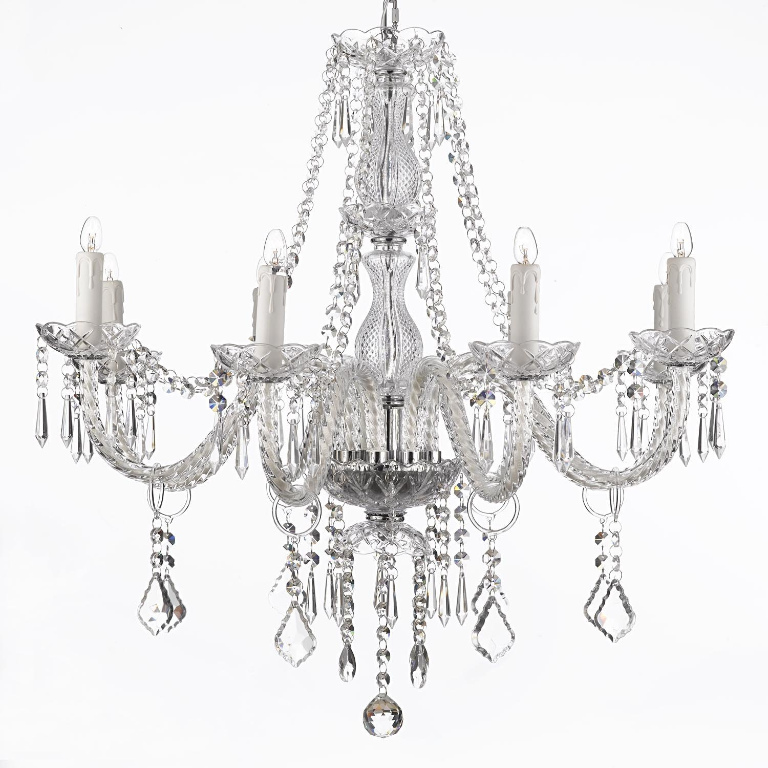 Crystal Chandelier Lighting 28ht X 28wd 8 Lights Fixture Pendant In Cheap Faux Crystal Chandeliers (Image 11 of 25)