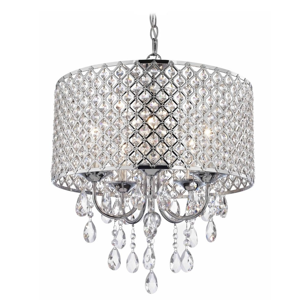 Crystal Chrome Chandelier Pendant Light With Crystal Beaded Drum In Crystal Chrome Chandeliers (Image 9 of 25)