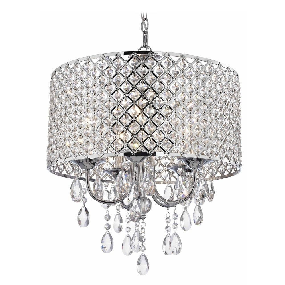 Crystal Chrome Chandelier Pendant Light With Crystal Beaded Drum In Crystal Chrome Chandeliers (Image 8 of 25)