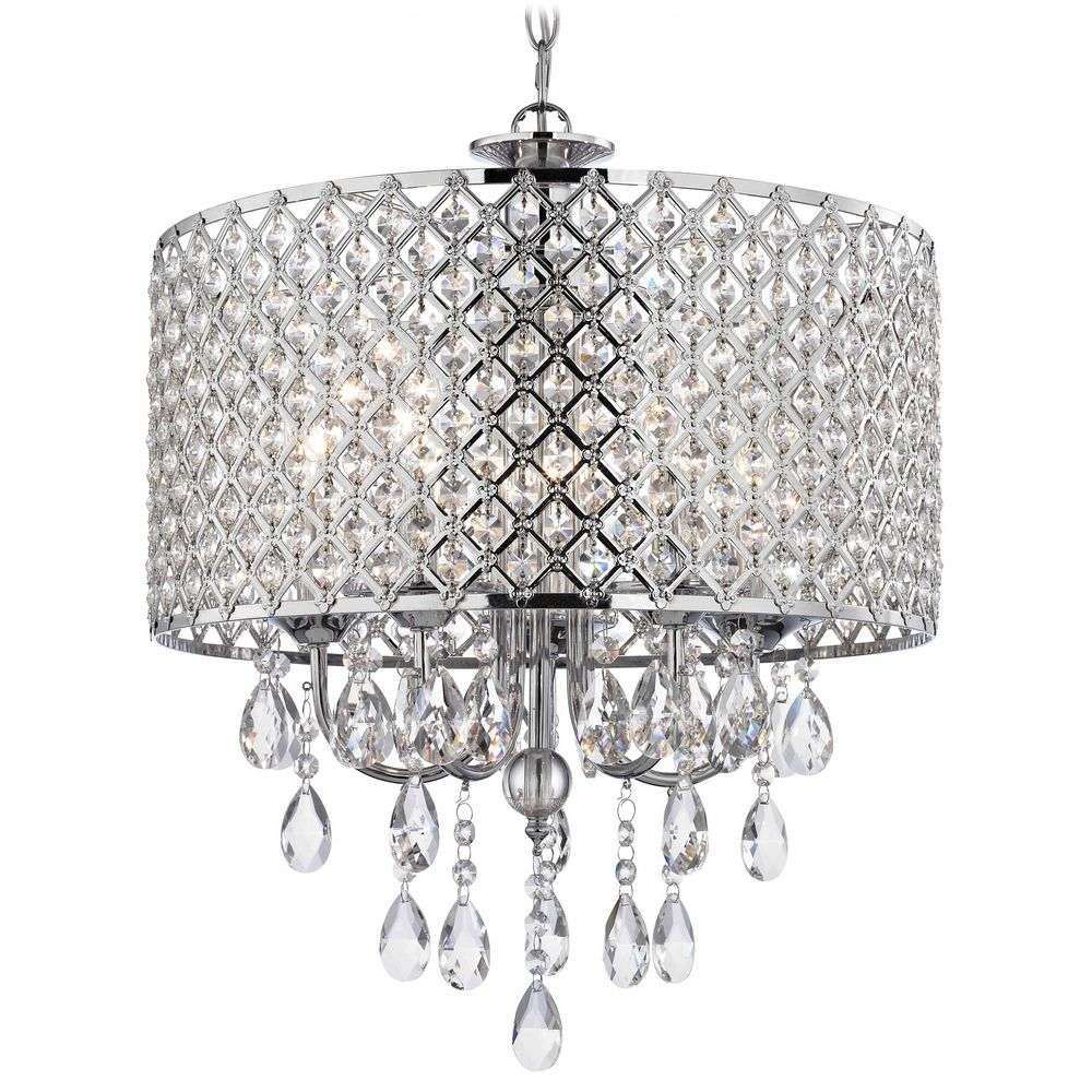 Crystal Chrome Chandelier Pendant Light With Crystal Beaded Drum With Regard To Chandelier With Shades And Crystals (Image 16 of 25)