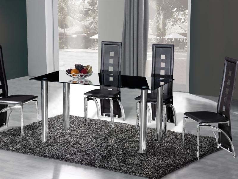Crystal Dining Table (150Cm) + 6 Miller Design Black | Love4Furniture1 In Crystal Dining Tables (View 3 of 20)