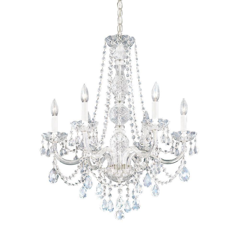 Crystal Polished Nickel Chandeliers Destination Lighting Throughout White And Crystal Chandeliers (Image 16 of 25)
