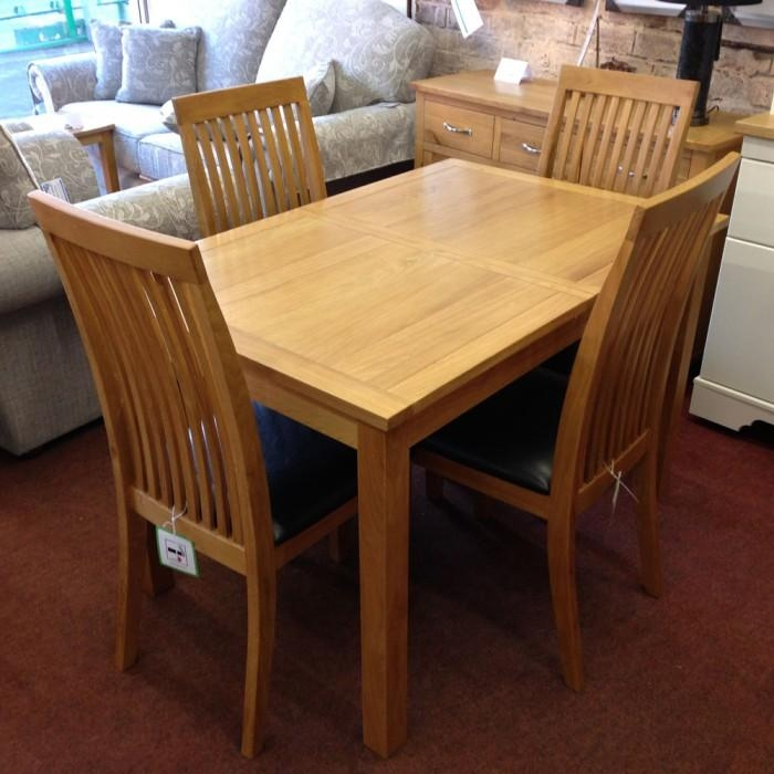 Cuba Oak Square Oak Dining Table With 4 Chairs – Flintshire With Regard To Oak Dining Tables And 4 Chairs (View 6 of 20)