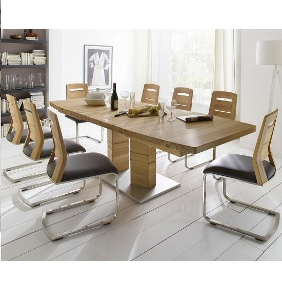 Cuneo Extendable Dining Table Rectangular In Core Beech 8 With Regard To Beech Dining Tables And Chairs (Image 11 of 20)