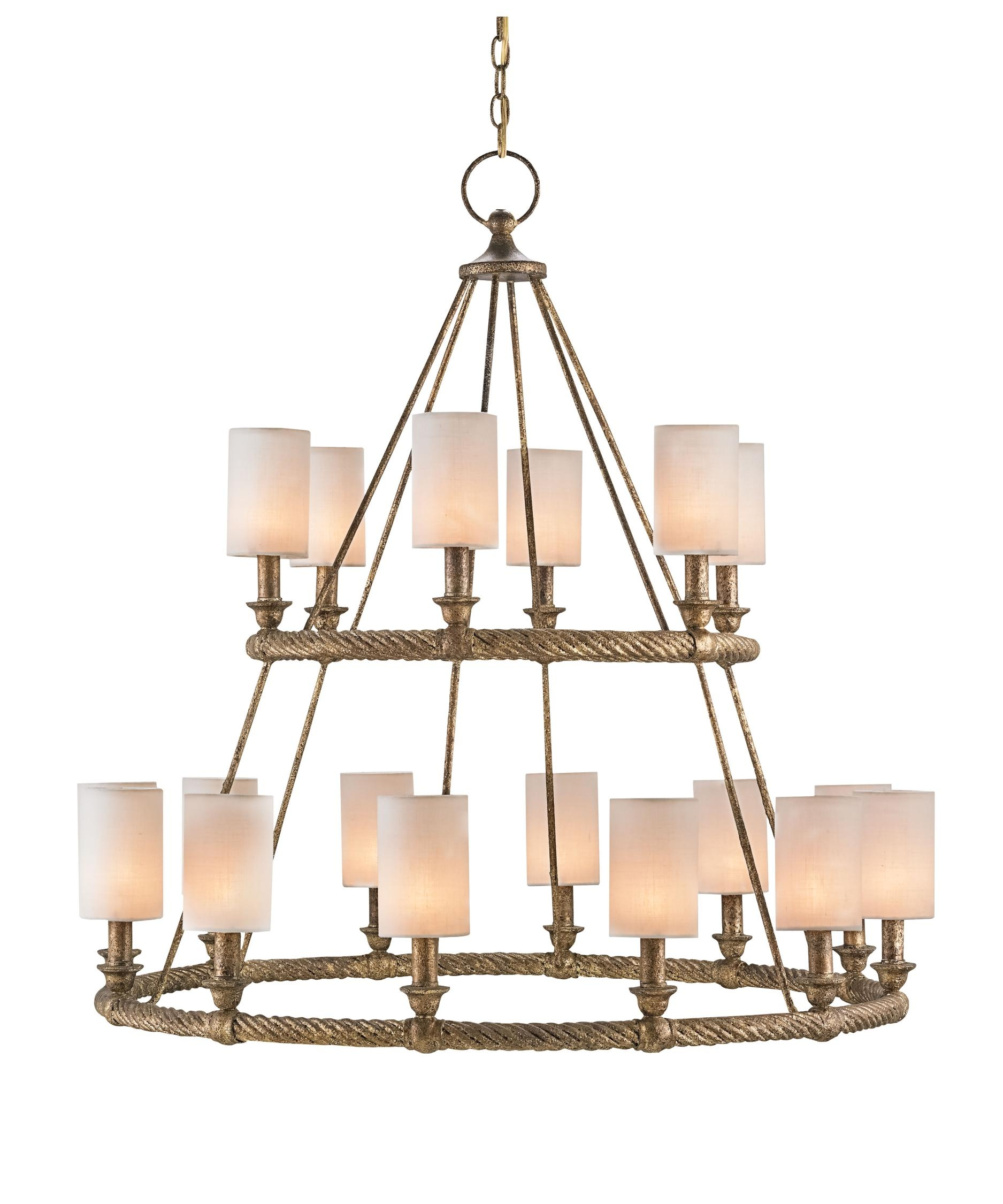 Currey And Company 9844 Westbourne 39 Inch Wide 18 Light With Linen Chandeliers (Image 12 of 25)