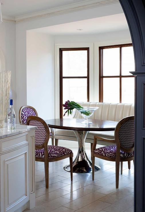 Curved Cream Leather Dining Bench With Julian Chichester Dakota In Chichester Dining Tables (View 11 of 20)