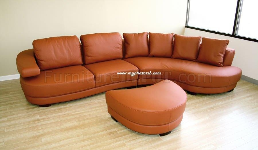 Curved Sectional Sofa In Burnt Orange Leather Intended For Burnt Orange Sofas (Image 8 of 14)