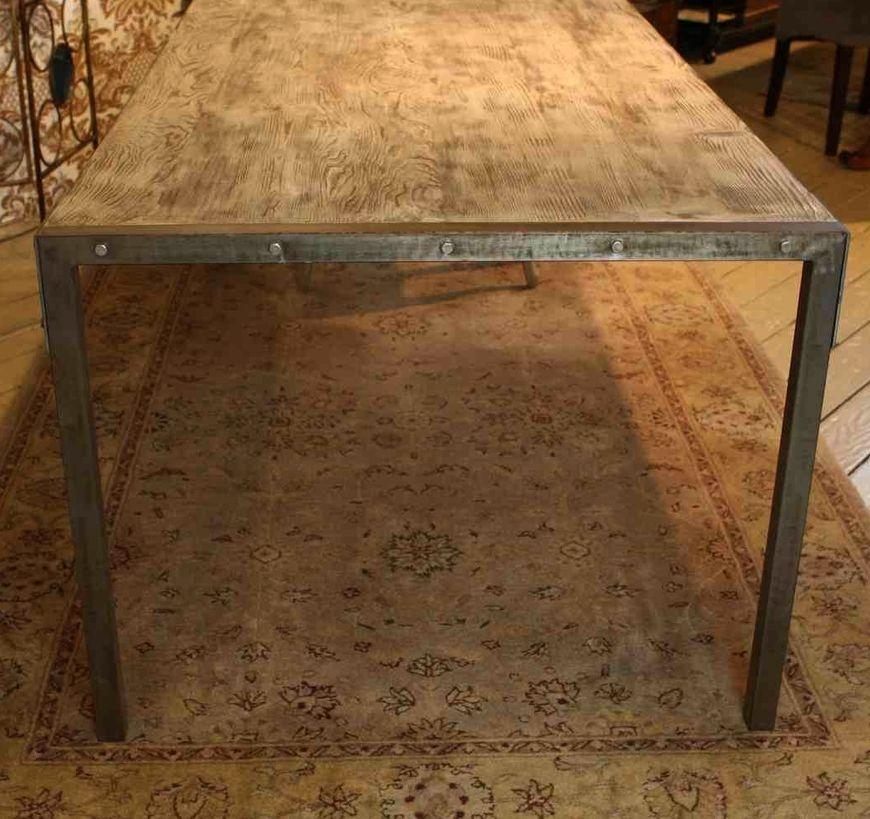 Custom Made Urban Dining Table Reclaimed Wood Top Distressed Metal Pertaining To Dining Tables With Metal Legs Wood Top (Image 9 of 20)