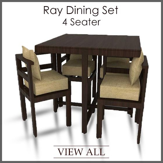 Cute 4 Seater Dining Table And Chairs Fern White Gloss 4 Chair Intended For 4 Seat Dining Tables (Image 11 of 20)