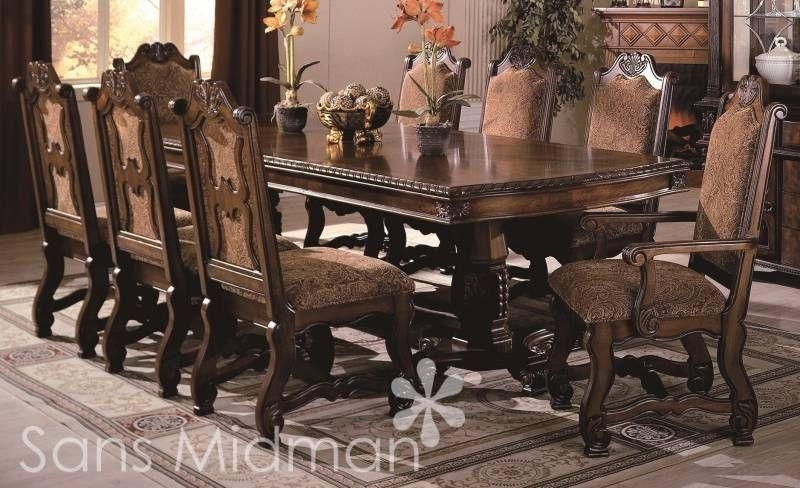 Cute 8 Chair Dining Table Sets Transitional Sets Chair | Ciov With Regard To 8 Seater Round Dining Table And Chairs (Image 5 of 20)