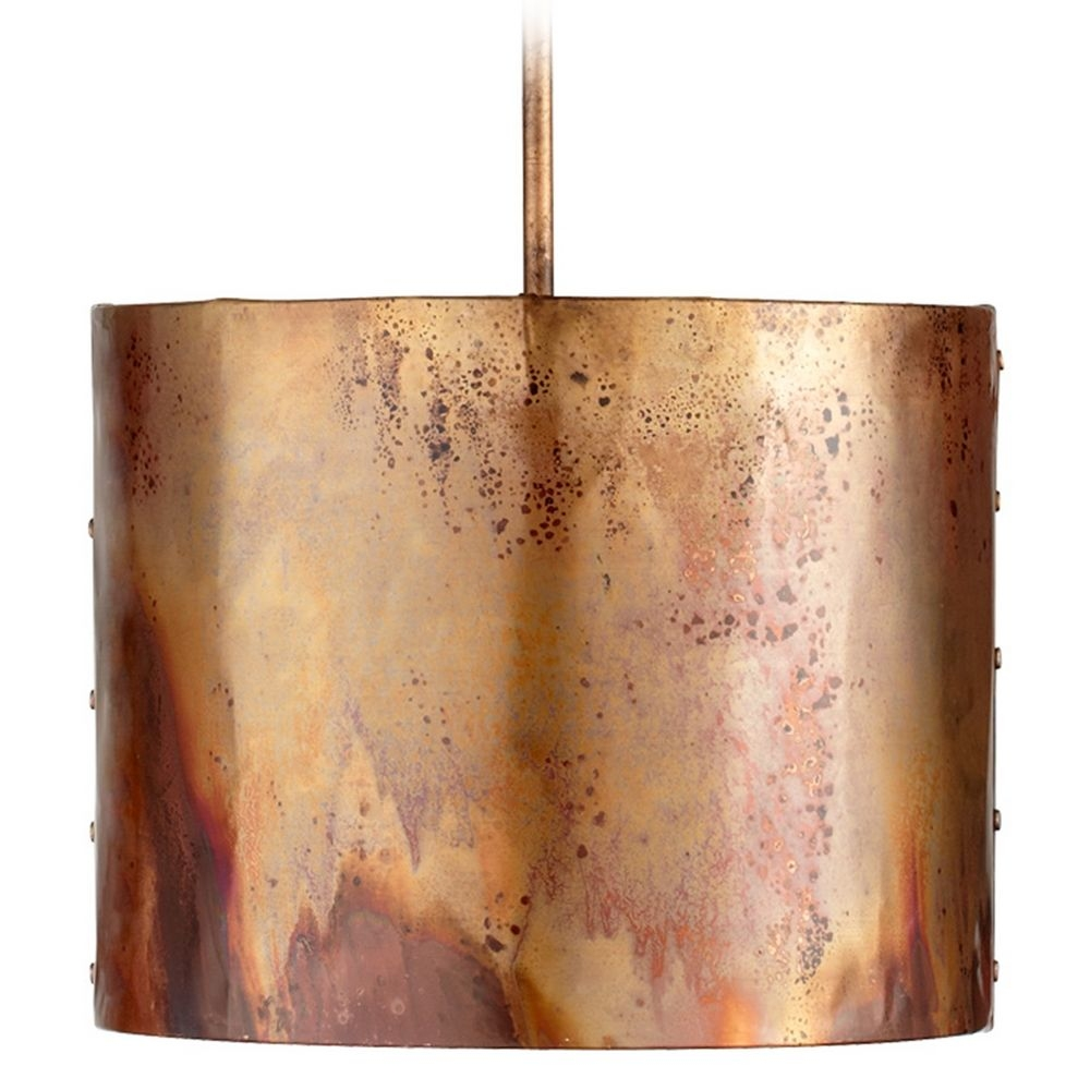 Cyan Design Mauviel Copper Pendant Light With Drum Shade 05156 In Metal Drum Chandeliers (Image 6 of 25)