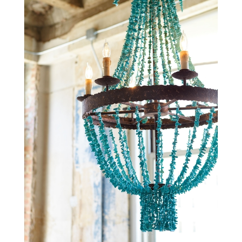 D46cm Replica Item Blue Stone Turquoise Beads Six Light Chandelier Intended For Turquoise Stone Chandelier Lighting (Image 14 of 25)