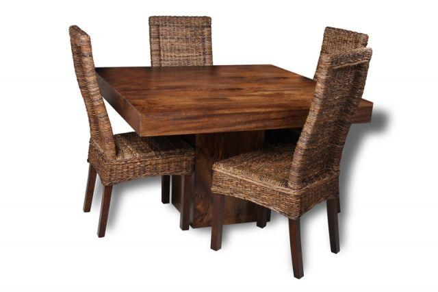 Dakota Cube Dining Table & 4 Rattan Dining Chairs | Trade Pertaining To Cube Dining Tables (View 18 of 20)