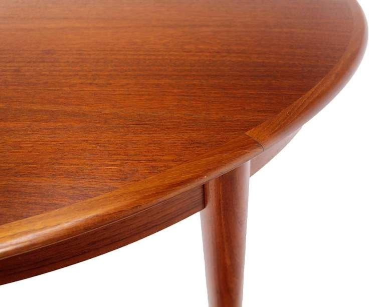 Danish Mid Century Modern Round Teak Dining Table With Three Pertaining To Round Teak Dining Tables (Image 2 of 20)