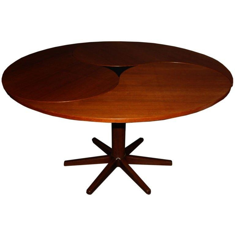 Danish Mid Century Modern Yin Yang Teak Round Oval Dining Table At Regarding Round Teak Dining Tables (Image 3 of 20)