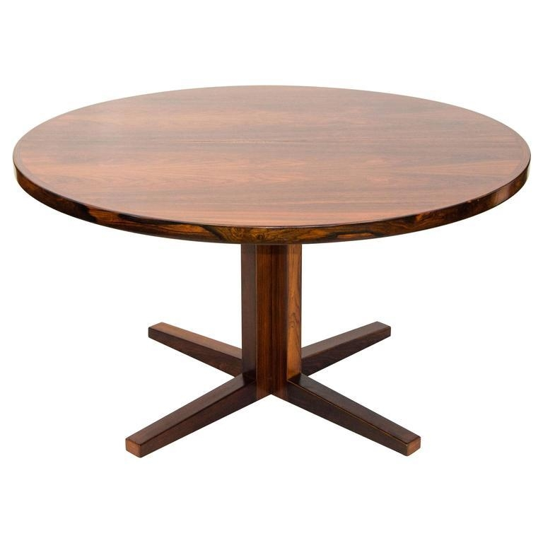 Danish Rosewood Round Pedestal Dining Table, One Leaf At 1Stdibs Throughout Round Teak Dining Tables (Image 5 of 20)