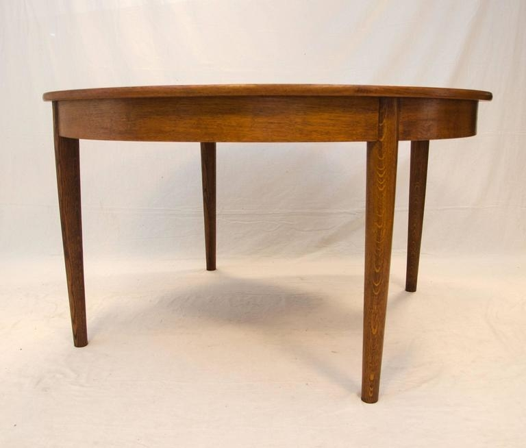 Danish Round Teak Dining Table With Four Skirted Leaves With Regard To Round Teak Dining Tables (Image 6 of 20)