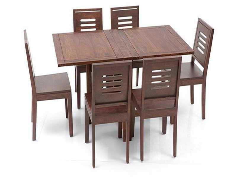 Danton Folding Wooden Dining Set With Table And Six Chairs (Image 7 of 20)