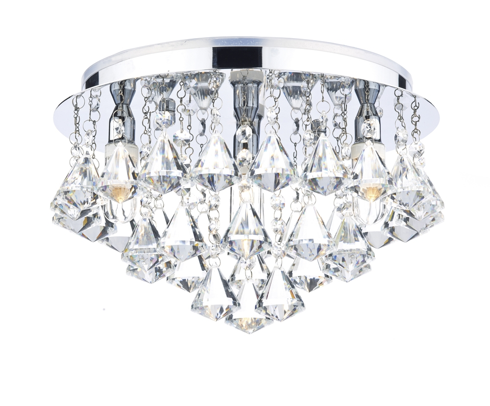 Dar Fri0450 Fringe Ip44 Crystal Bathroom Flush Ceiling Light From For Chandelier Bathroom Ceiling Lights (Image 18 of 25)
