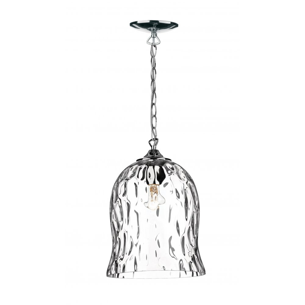 Dar Lighting Bobble Bob0150 Polished Chrome Clear Glass Pendant Regarding Chrome And Glass Chandeliers (Image 12 of 25)
