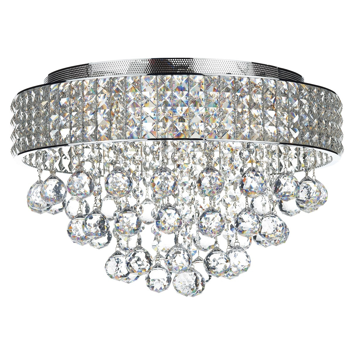 Dar Lighting Matrix Mat5450 5 Light Flush Crystal Light In Flush Chandelier Ceiling Lights (Image 14 of 25)