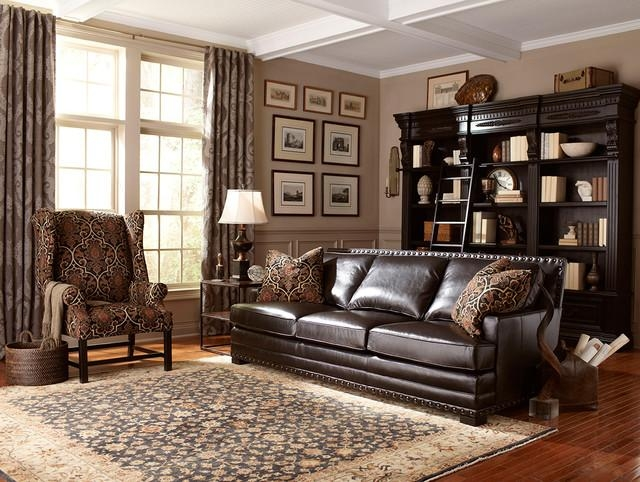 Dark Brown Leather Sofa With Nailhead Trim – Contemporary – Living With Brown Leather Sofas With Nailhead Trim (Image 9 of 20)