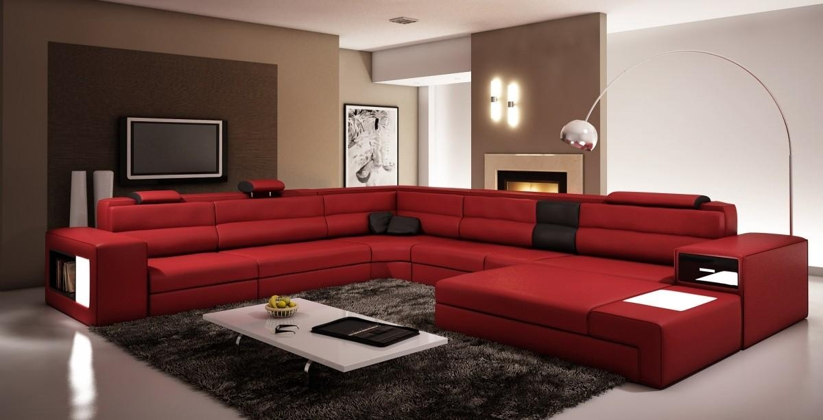 Dark Red Bonded Leather Sectional Sofa For Dark Red Leather Sofas (Image 14 of 20)