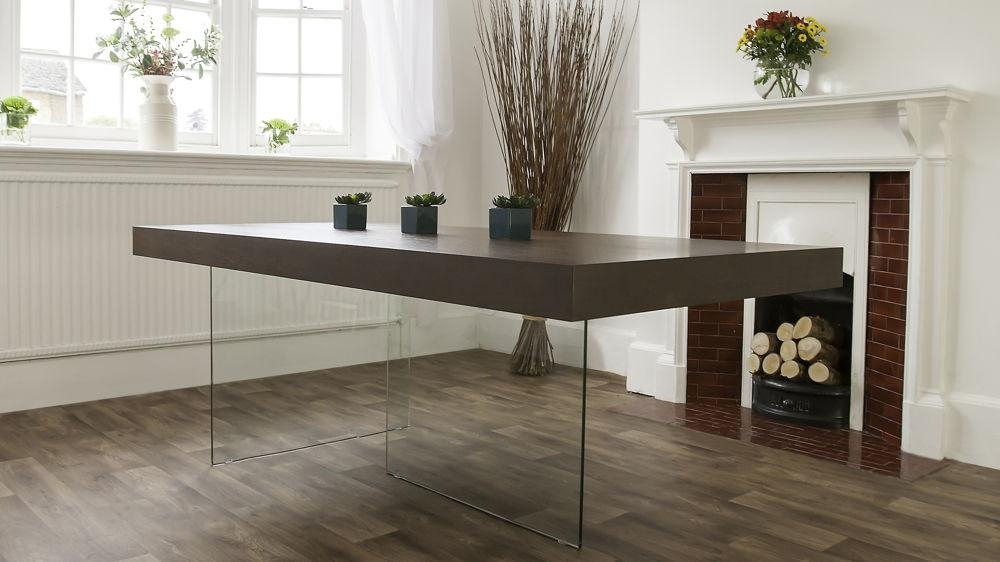 Dark Wood Extending Dining Table Uk – Destroybmx Regarding Glass Dining Tables With Wooden Legs (Image 5 of 20)