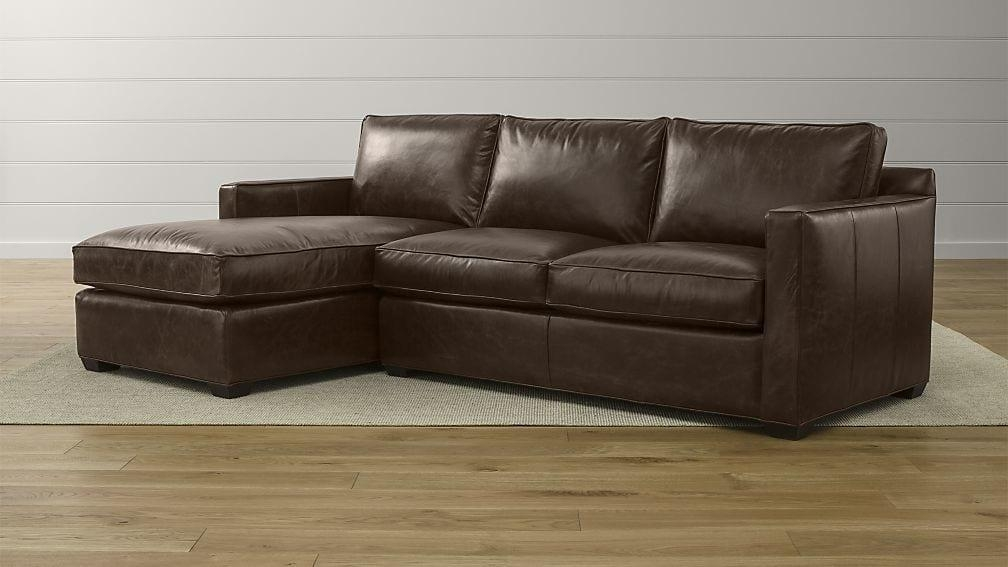 Davis 2 Piece Leather Sectional | Crate And Barrel In 2 Piece Sectional Sofas (Image 8 of 20)