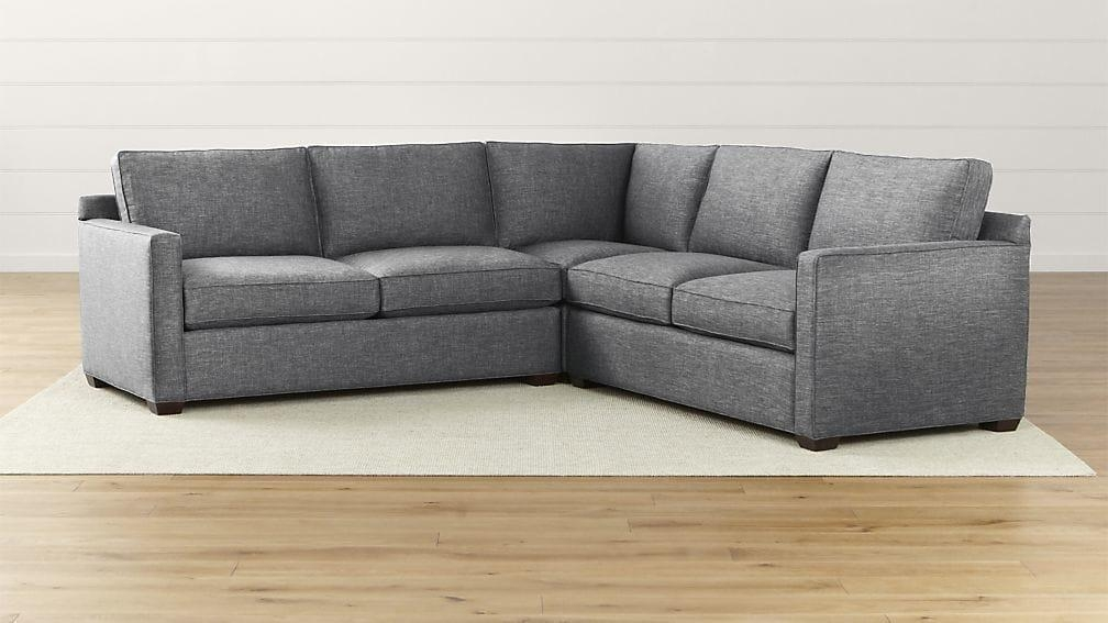 Davis 3 Piece Sectional Sofa | Crate And Barrel In Davis Sofas (Image 5 of 20)