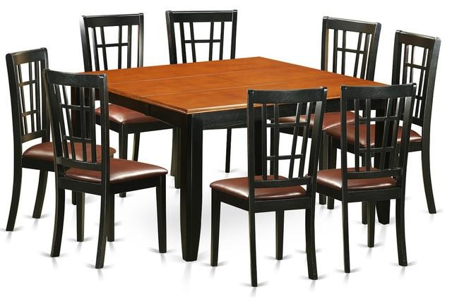 Dawson Dining Table Set, Black And Cherry, 9 Pieces – Transitional Intended For Dawson Dining Tables (Image 10 of 20)