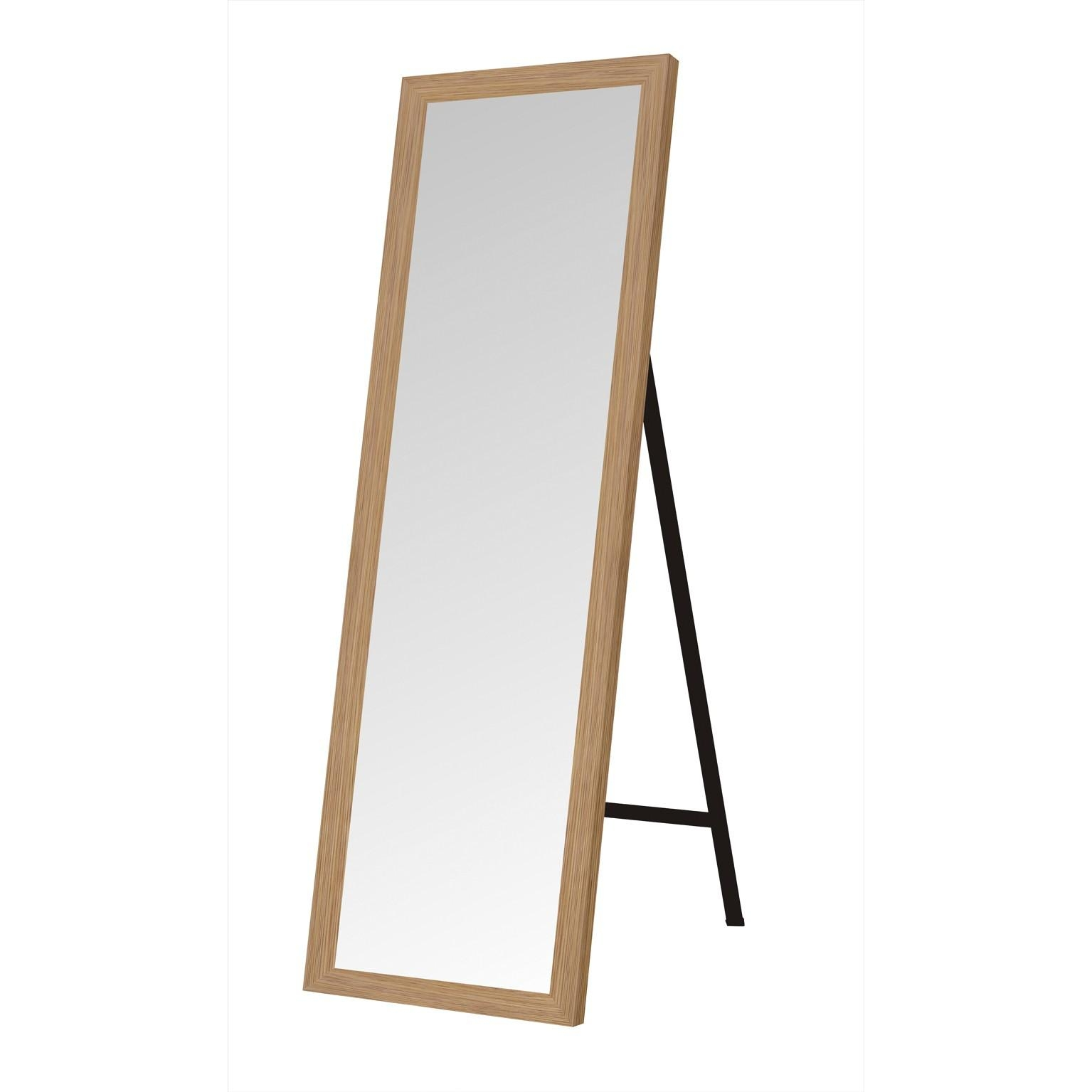 De Vielle (Dev764438) Brass Effect Trim Free Standing Floor Mirror In Free Standing Oak Mirror (Image 4 of 20)