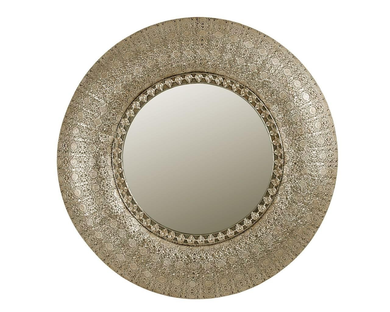 Decor: Antique Round Mirror Iron Mirror With Convex Wall Mirror With Regard To Antique Round Mirror (Image 5 of 20)