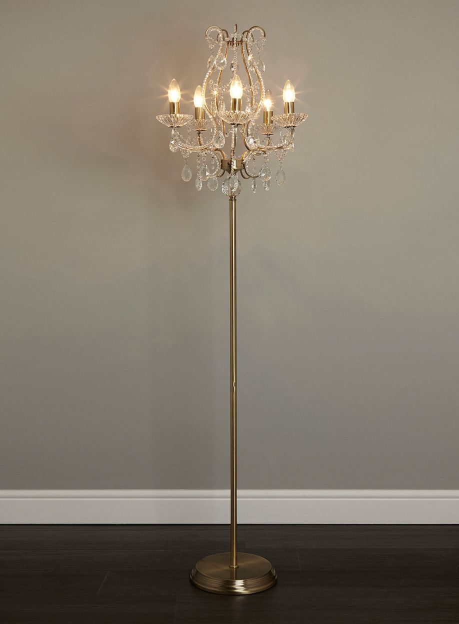 Decor Astounding Crystal Chandelier Floor Lamp With Round Shade Within Standing Chandelier Floor Lamps (Image 7 of 25)