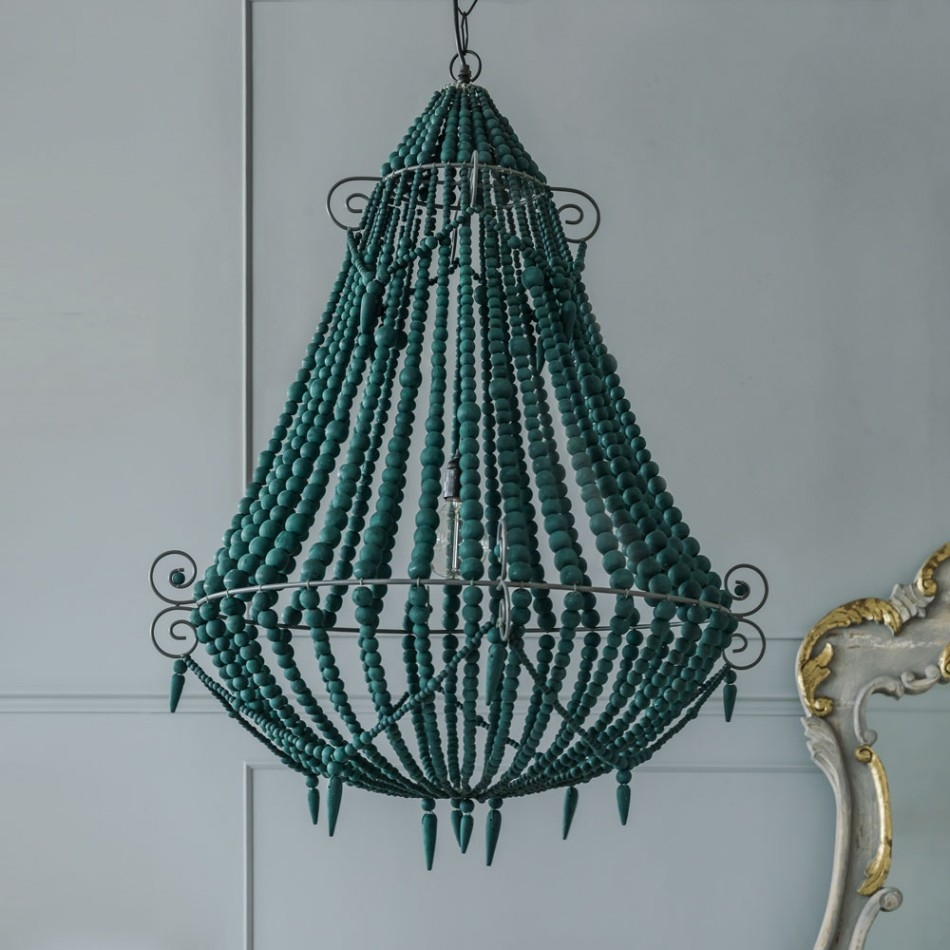Decor Stylish Repair Turquoise Beaded Chandelier With Iron Wire For Turquoise And Gold Chandeliers (Image 5 of 13)