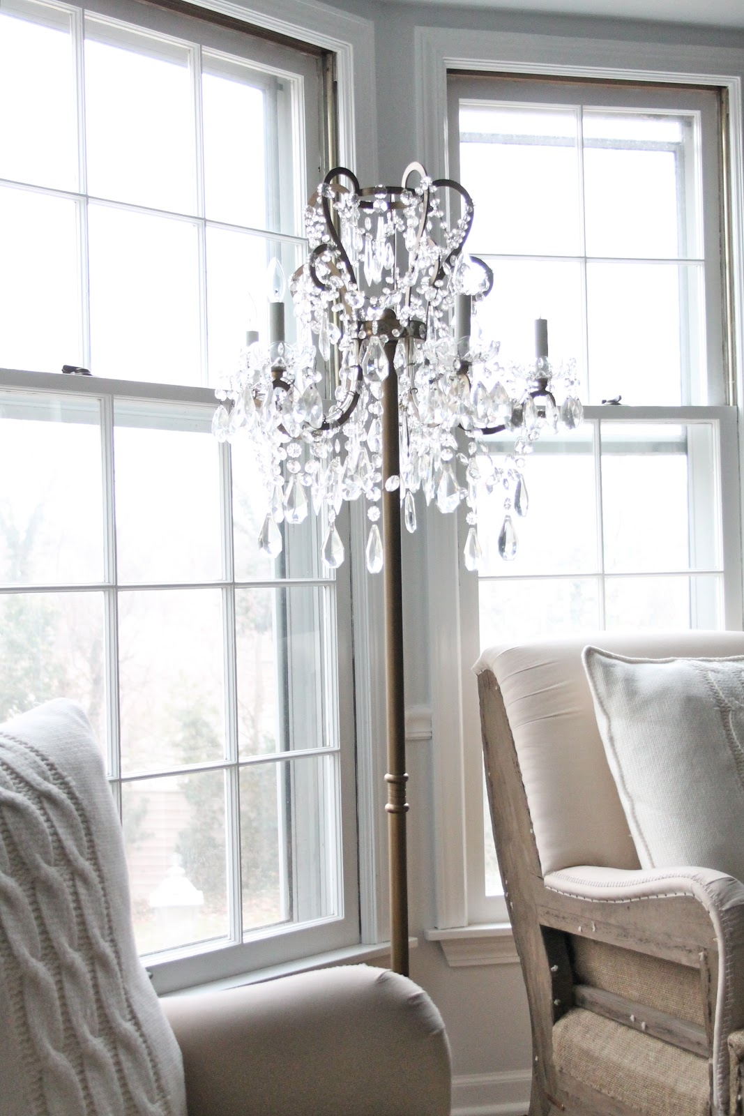 Decor Wonderful Chandelier Floor Lamp For Fascinating Home For Tall Standing Chandelier Lamps (View 17 of 25)