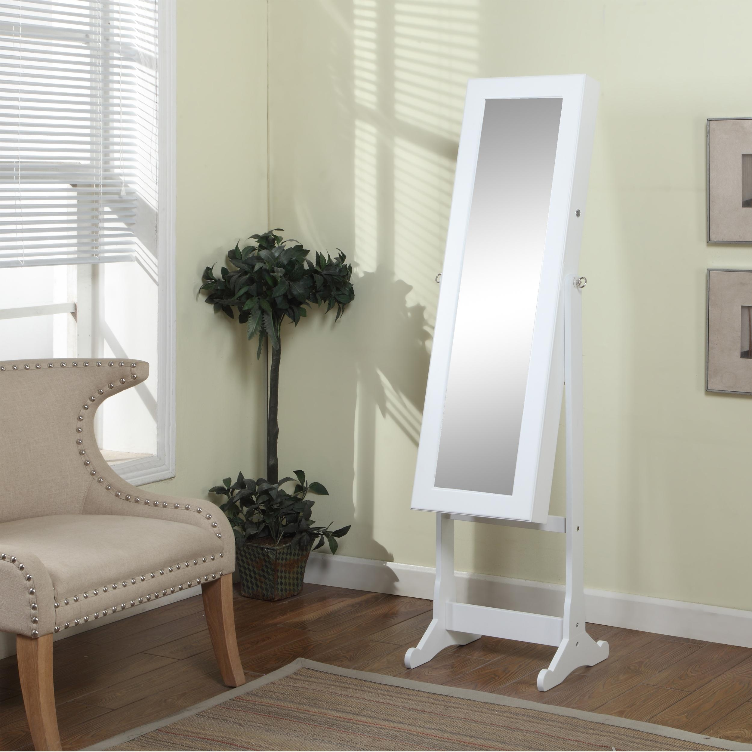 Decorating: Chic Wooden Standing Mirror Jewelry Armoire In White With Cream Standing Mirror (Image 6 of 20)