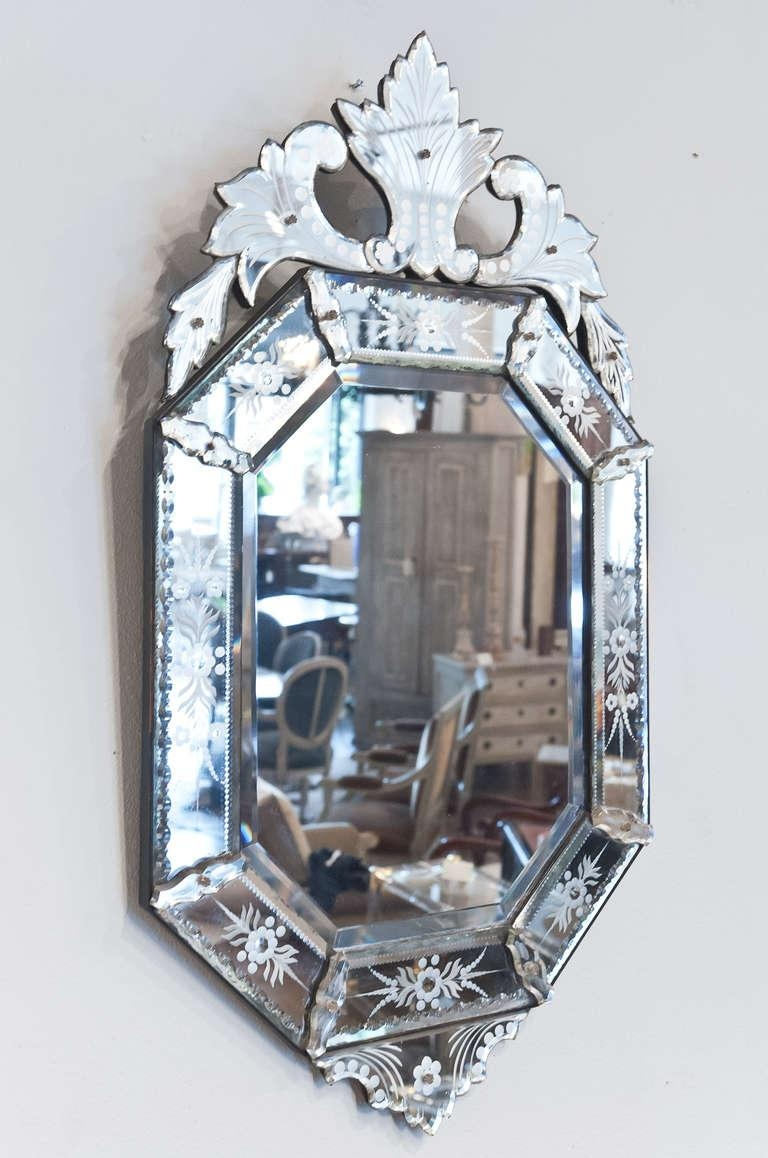 Decorating Ideas: Divine Image Of Etched Glass Mirrored Antique Intended For Venetian Glass Mirrors Sale (View 2 of 20)