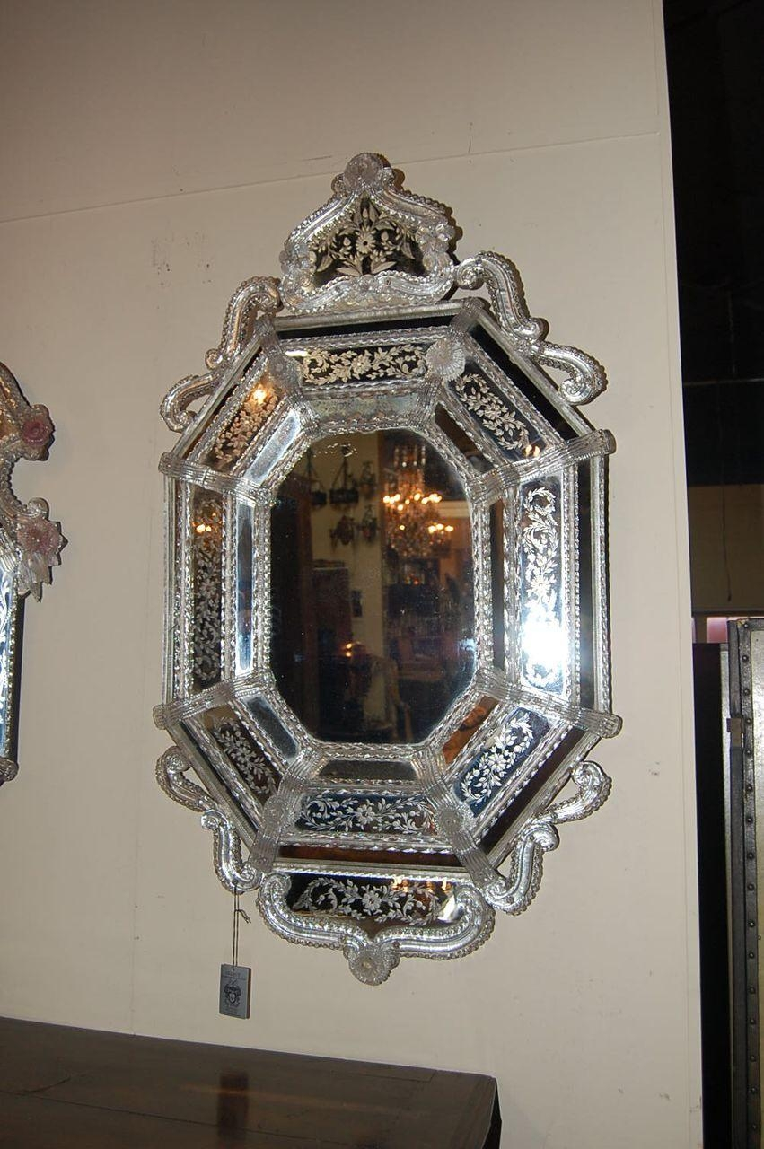 Decorating Ideas: Stunning Image Of Vintage Etched Glass Antique With Regard To Antique Venetian Glass Mirror (Image 14 of 20)