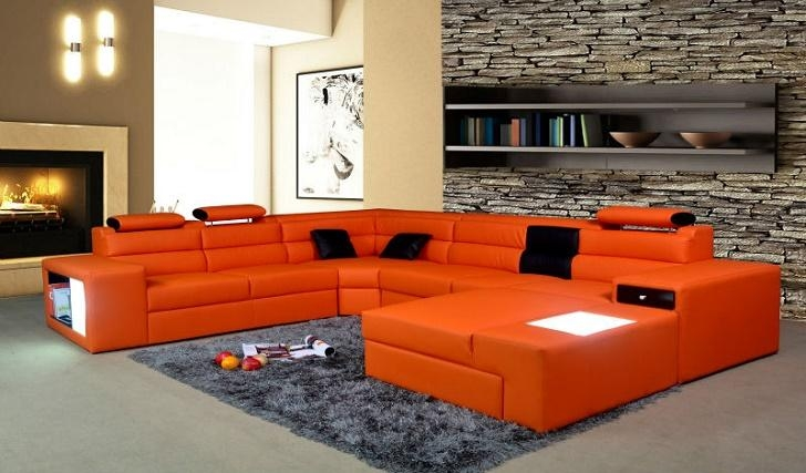 Decorating Living Room With Orange Sofa | Bedroom And Living Room With Burnt Orange Sofas (Image 9 of 14)