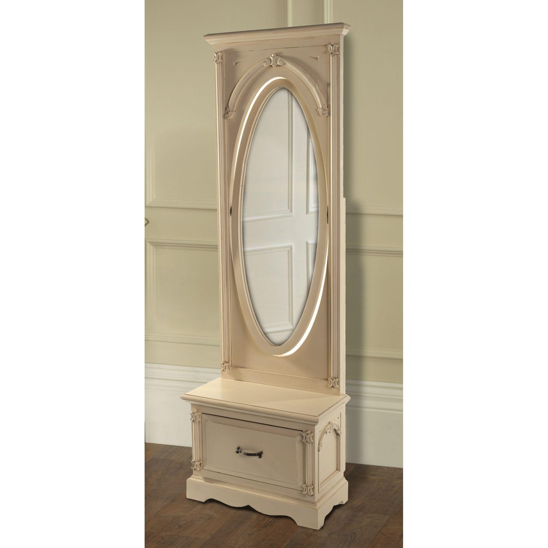 Decorating: Nostalgic Oak Cheval Mirror With Wooden Floor And Regarding Cream Cheval Mirror (View 18 of 20)